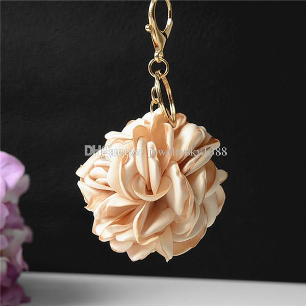 Cloth Art Flower Metal Keychain Keyring Car Keychains Purse Charms Handbag Pendant Best Gift