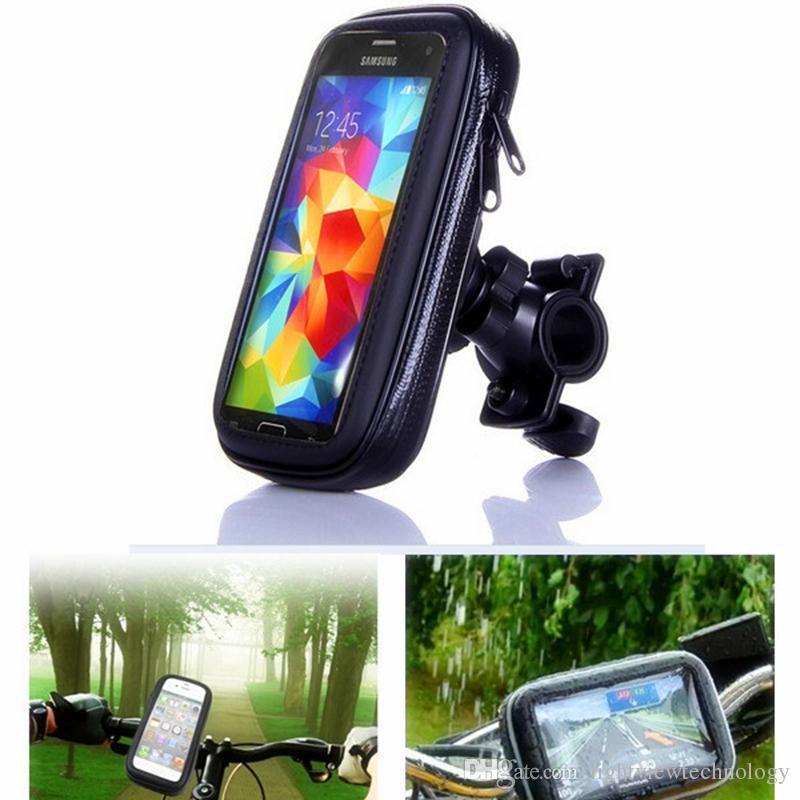Soporte del teléfono móvil de la bicicleta de la motocicleta soporte del soporte del teléfono móvil para el iPhone 7 6S Galaxy S8 Plus Soporte de la bici del GPS bolso de la caja de la bici impermeable