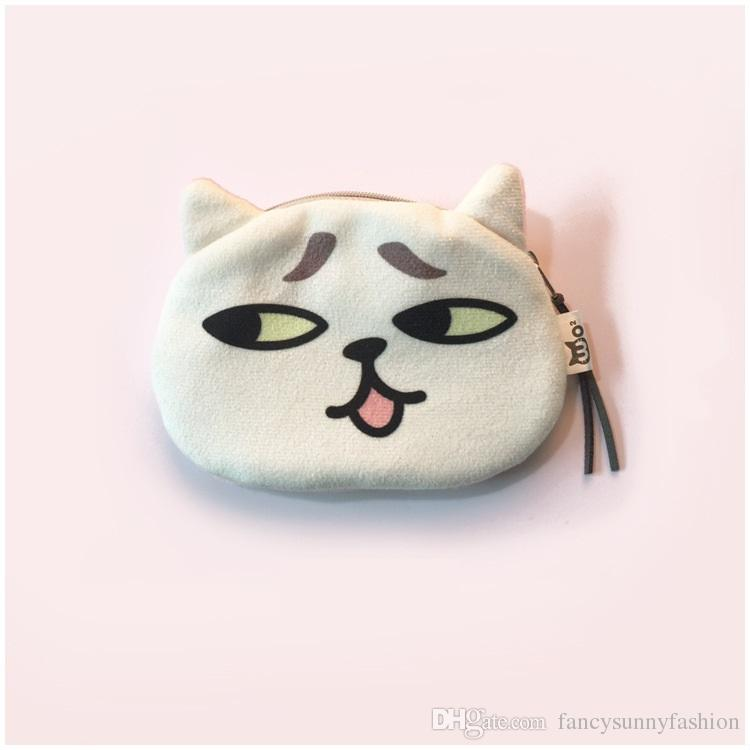 cute cat cosmetic bag with digital printing cat face, also a coin purse with cartoon shape zipper bags for fashion lady & kids, price cheap