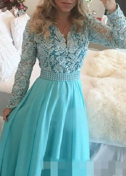 2016 긴 파란 무도회 드레스 겸손한 긴 소매 V-Neck 진주 레이스 쉬폰 A-Line지면 뜨거운 판매 단화 주문품