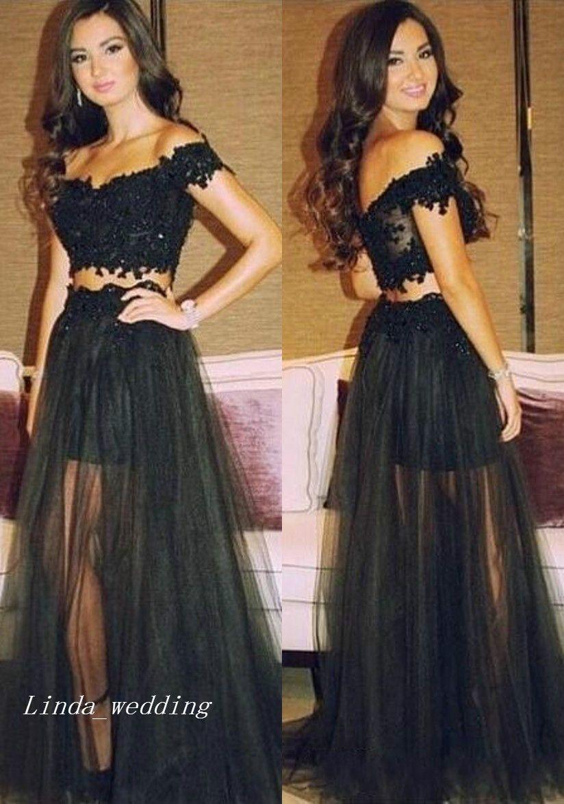f450a6e506e8e 2017 Black Two Piece Prom Dress Off Shoulder Lace Sweep Train Long Special  Occasion Dress Evening Party Gown Plus Size Vestidos De Festa Short Prom  Dresses ...