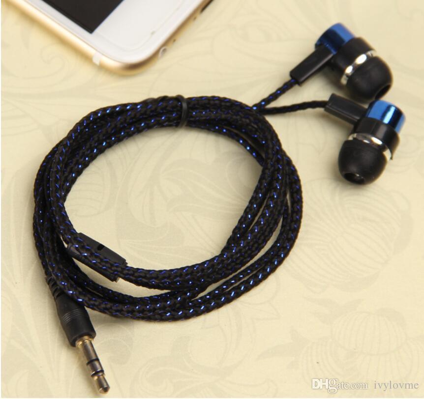 2016 New Arrival Earphones Jack Standard Noise Isolating 1.1M Reflective Fiber Cloth Line 3.5mm Stereo In-ear Earphone Earbuds Headphones