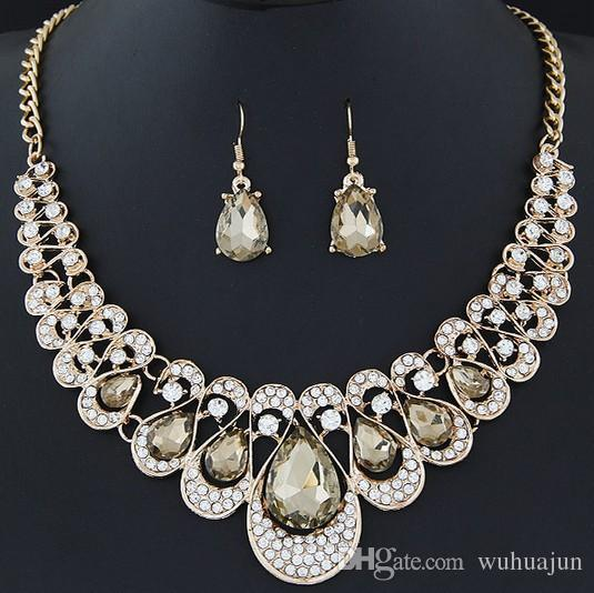New Red/Blue/Black/Champagne/Transparent/Colors Luxurious Earring Necklace Set Blingbling Stone Necklaces Women Fashion Party Dinner Jewelry