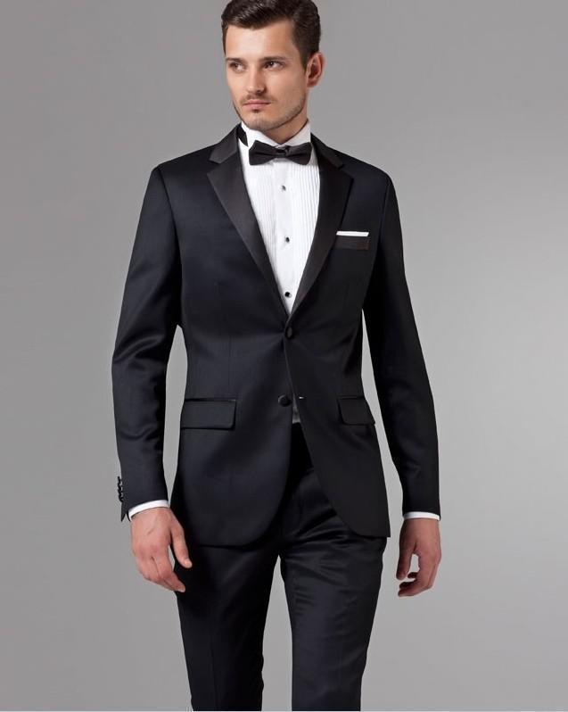 Bräutigam Smoking kundenspezifische Größe und Farbe Männer Smokings Anzug Bräutigamanzüge drei Stücke Jacke + Hose + Weste hochwertige Business-Anzüge für Männer