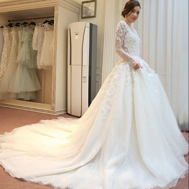 Großhandel Elegante Vestido De Noiva Lange Ärmel Ballkleid ...