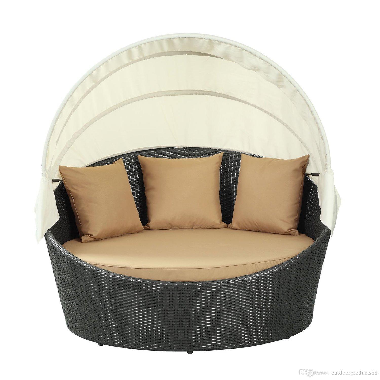 2017 Outdoor Rattan Wicker Round Bed Outdoor Wicker Lying Bed