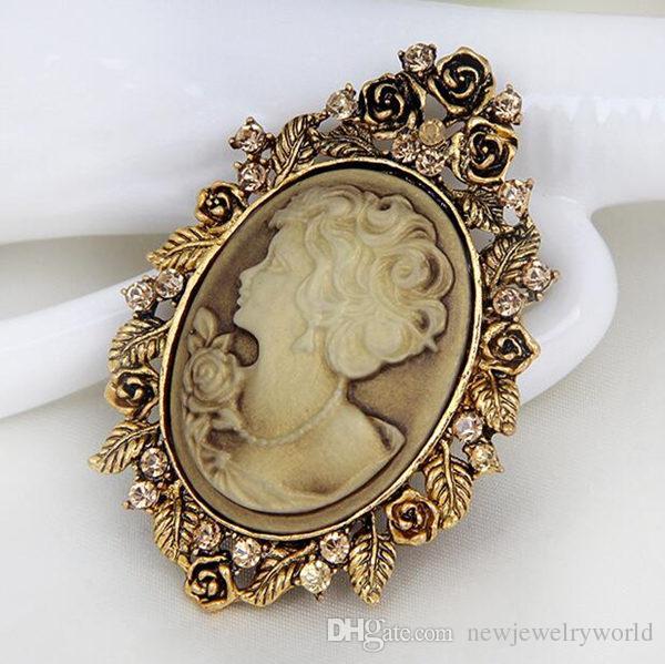 Top Quality Áustria Cristal Strass Estilo Vintage Moda Estilo Vitoriano Cameo Broche Senhora Cachecol Broche Pinos Venda Direta Da Fábrica Barato!