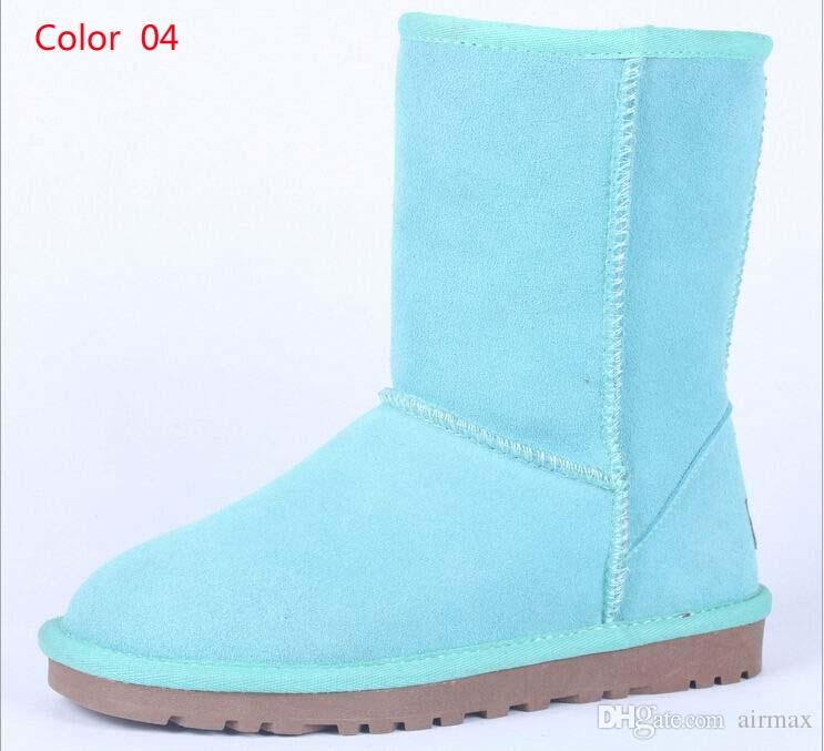 Classic Winter Women Snow Boots Suede Leather Mid-Calf Fashion Boot Ladies Fashion Warm Plush Suede Boots Plus Size 11 12