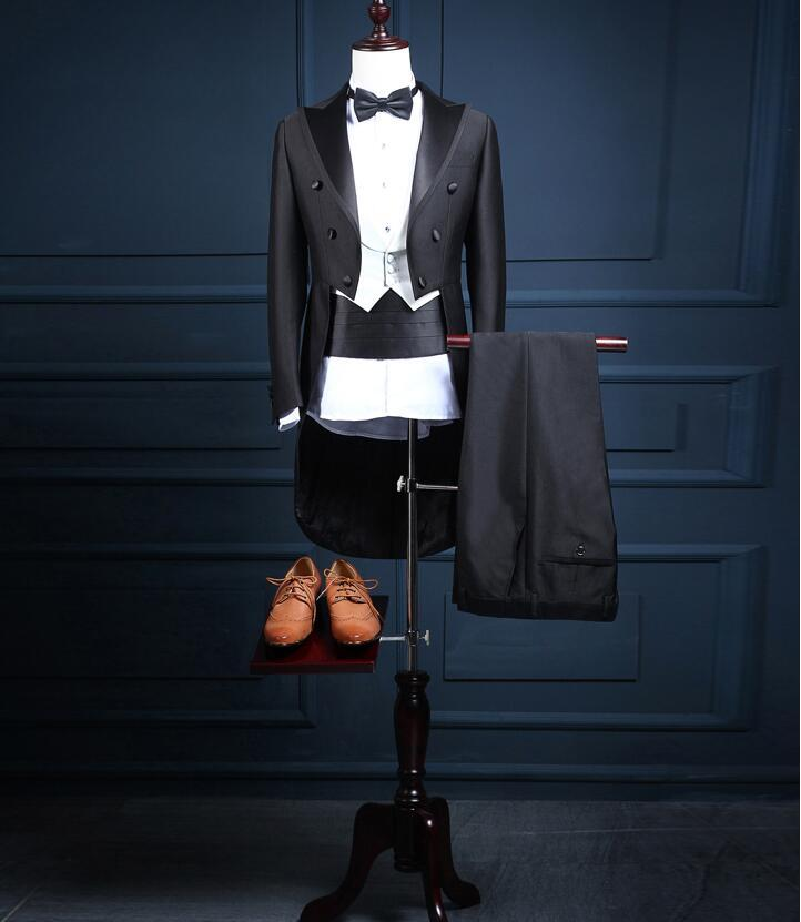 Nuevo traje de 3 piezas personalizado traje de magia negro hombres trajes vestido de cola de milano boda formal en Europa y la catedral y el novio