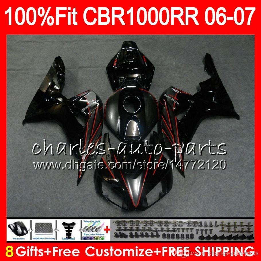 глянцевый черный корпус впрыска для HONDA CBR 1000RR CBR 1000 RR 06 07 78NO51 100% Fit CBR1000RR 06 07 кузов CBR1000 RR 2006 2007 обтекатель комплект