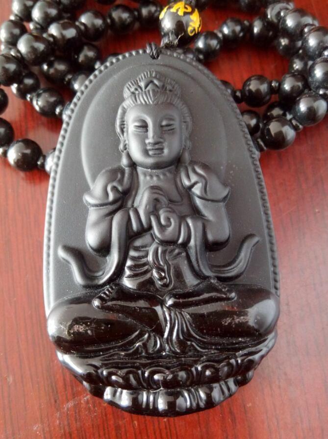 Buda Kolye Doğal obsidyen Vintage Kolye Siyah Buda Baş Kolye kadınlar Için Jade Takı