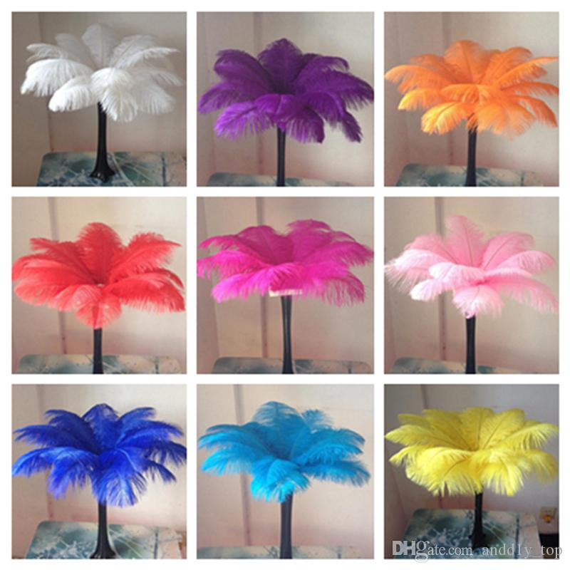 14-16inch White black Red Pink Blue Yellow Green Purple Rose Ostrich Feather Plumes for Wedding Centerpiece Table Party Desktop decoration