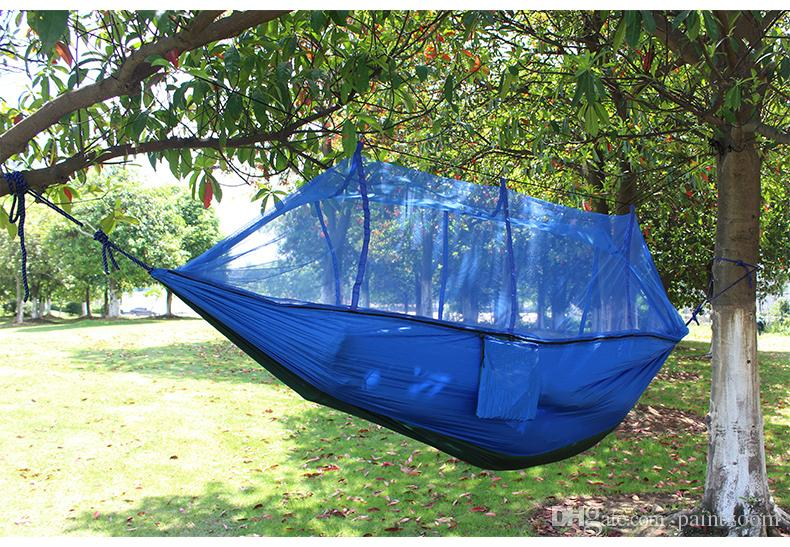 Outdoor Portable camping Mosquito net sleeping hammock High strength parachute Fabric double hanging bed