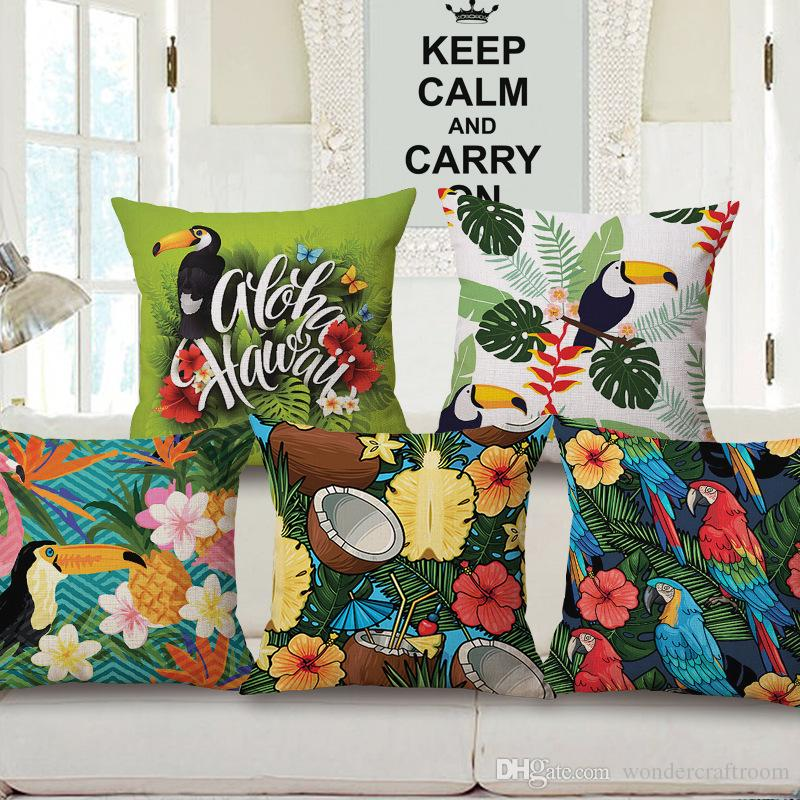 Tropical Plants Hawaii Cushion Covers Toucan Parrot Bird