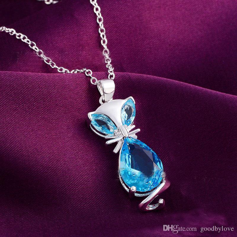 1b37fae3ed54 Compre Moda Para Mujer Joyería Plateada Plata Azul Zafiro Lindo Fox Animal  Cadena Colgante Collar Para El Partido A  2.16 Del Goodbylove