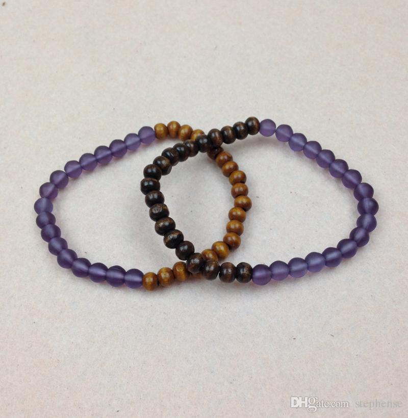 SN0557 venda quente fosco rodada 6mm colorido contas de Néon pulseira de madeira talão Mulheres Bead Pulseira chamilia pulseira