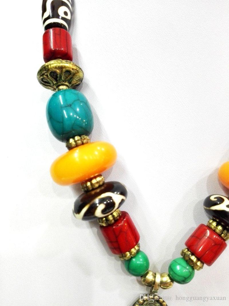 18 '' Этническое яркое водное ожерелье с капюшоном Howlite Бирюзовый Dzi из бисера Amber oyzz-008