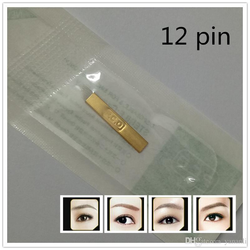 PCD 12-Pin Manual de Maquiagem Permanente Sobrancelha Agulhas de Tatuagem Lâmina Para Microblading Pen