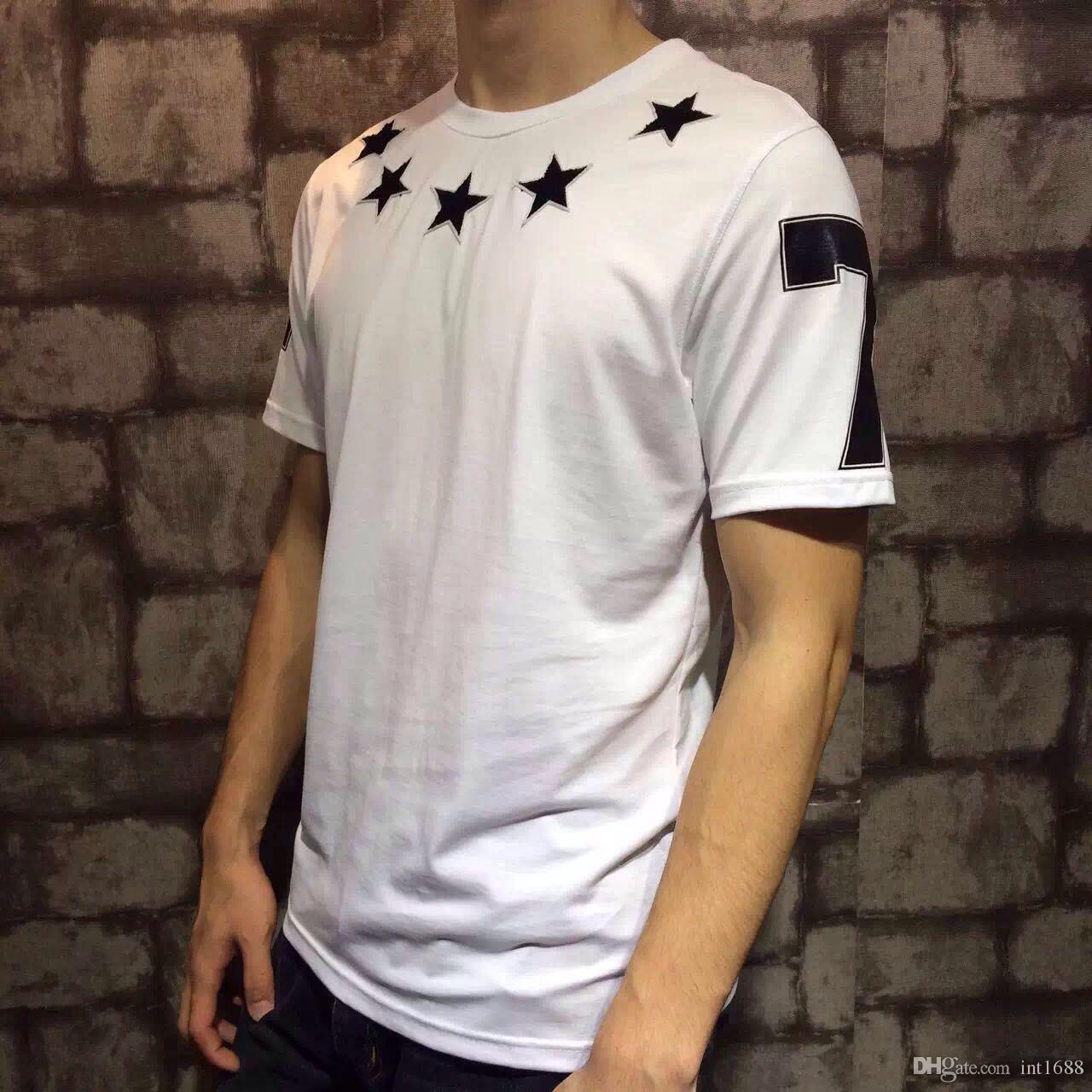 2016 جديد أزياء الصيف تي شيرت الرجال س الرقبة القطن يتدفقون الخماسي 47 الرقمية قصيرة الأكمام الرجال القميص الرجال ماركة الملابس