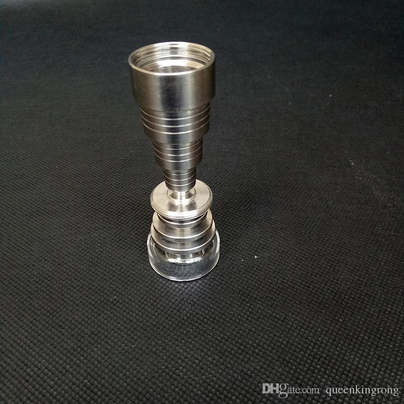 Titanio Nails Piatto al quarzo Banger Accessori fumo Strumento 6 in 1 con ciotola tappo di carboidrati bobbler narghilè Attrementi petroliferi in vetro Bong