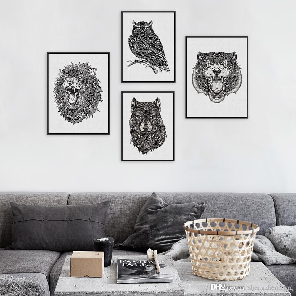 Modern Abstract Black White Animal Head Lion Tiger Art Print Poster ...