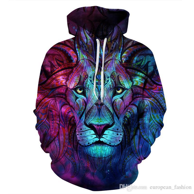 diseñador sudadera con capucha sudadera para hombre ropa de impresión 3D vetements moda sudaderas con capucha Animal lobo león chándal hombres sudadera con capucha abrigo con capucha suéter fino