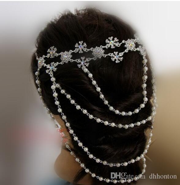 Hochzeit Brautschmuck Mithelfer Kristall Halskette Kette Faux Edelstein Schulter Kette mit Quaste Party Ornament HT102