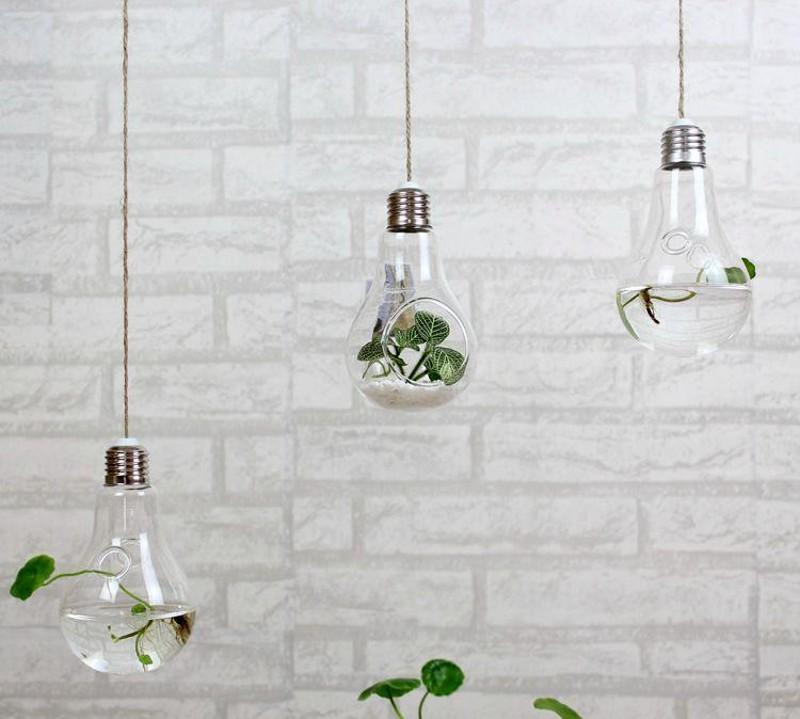 Clear Hanging Bulb Vases Succulent Air Plant Bulb Terrarium Light