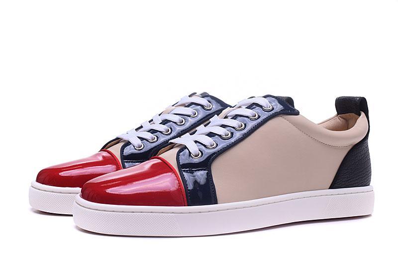 9c4b968ac Compre Chegada Nova Dos Homens Das Mulheres Colorido Patchwork Sneakers De  Couro Genuíno Vermelho Inferior, Marca De Grife Baixo Top Causal Sapatos 36  46 De ...