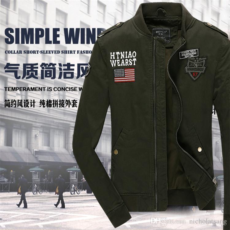 2016 marca militar hombres chaqueta 100% algodón lavado más tamaño 4xl Top Calidad Air Force 101 Ejército aerotransportado Deporte al aire libre y abrigo de viaje