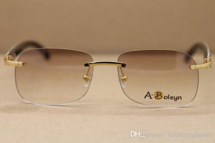 New Randlose T8100624 Schwarz Weiß Buffalo Horn Sonnenbrille Marke Designer Gold Brillen Rahmengröße: 56-18-140 mm