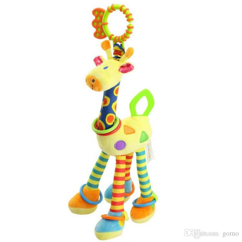 Infant Baby Bed Hand Bell Ring Rattle Stuffed Plush Cartoon Giraffe Hanging Toys