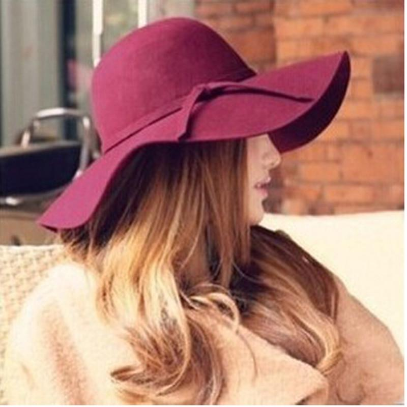 b5a48254 Wholesale New 2015 Summer Hat Ladies Women'S Fedora Beach Sun Hats Floppy  Wide Large Brim Cloche Bowler Pure Woolen Cap Church Hats Vintage Hats From  ...
