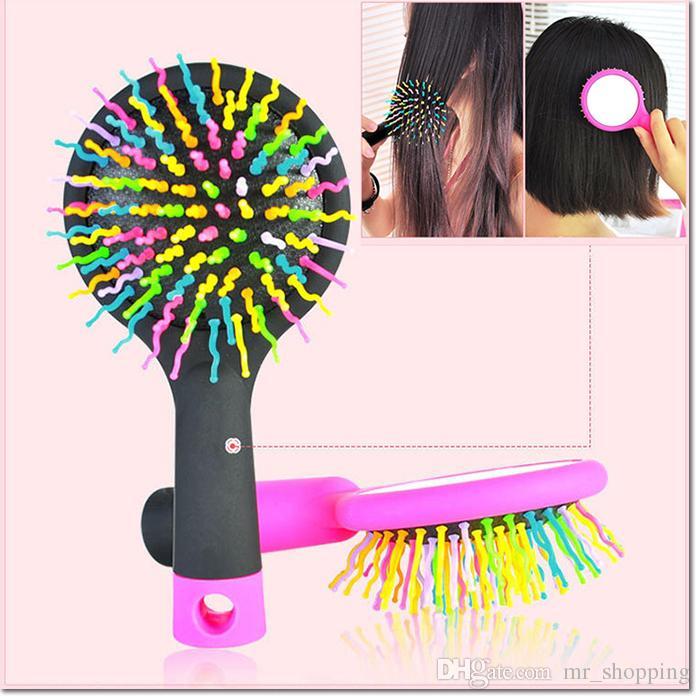 Di alta qualità di vendita calda Rainbow Volume anti-statica Magic Hair Curl Massaggio dritto pettine Brush Strumenti lo styling con specchio ragazza e donne
