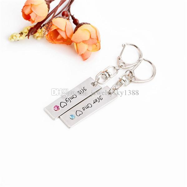 Originality Her One & His Only Loving Heart Couples Keychains Metal Keychain Keyring Car Keychains Handbag Pendant Charms Wedding Gift