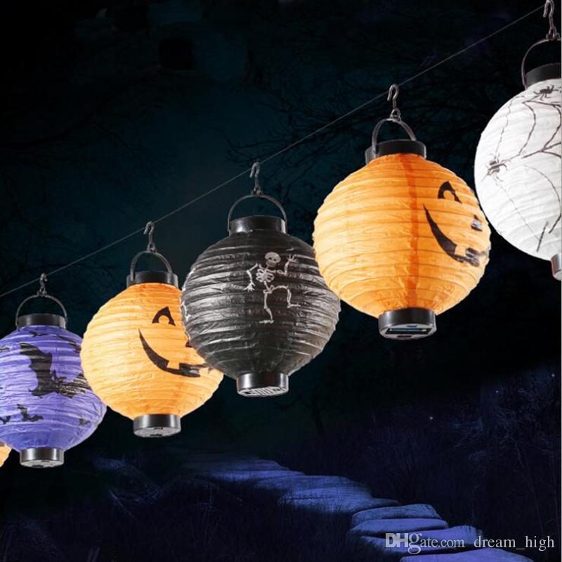 Хэллоуин украшения светодиодные бумаги тыква свет висит фонарь лампа Хэллоуин реквизит открытый праздничные атрибуты заводская цена