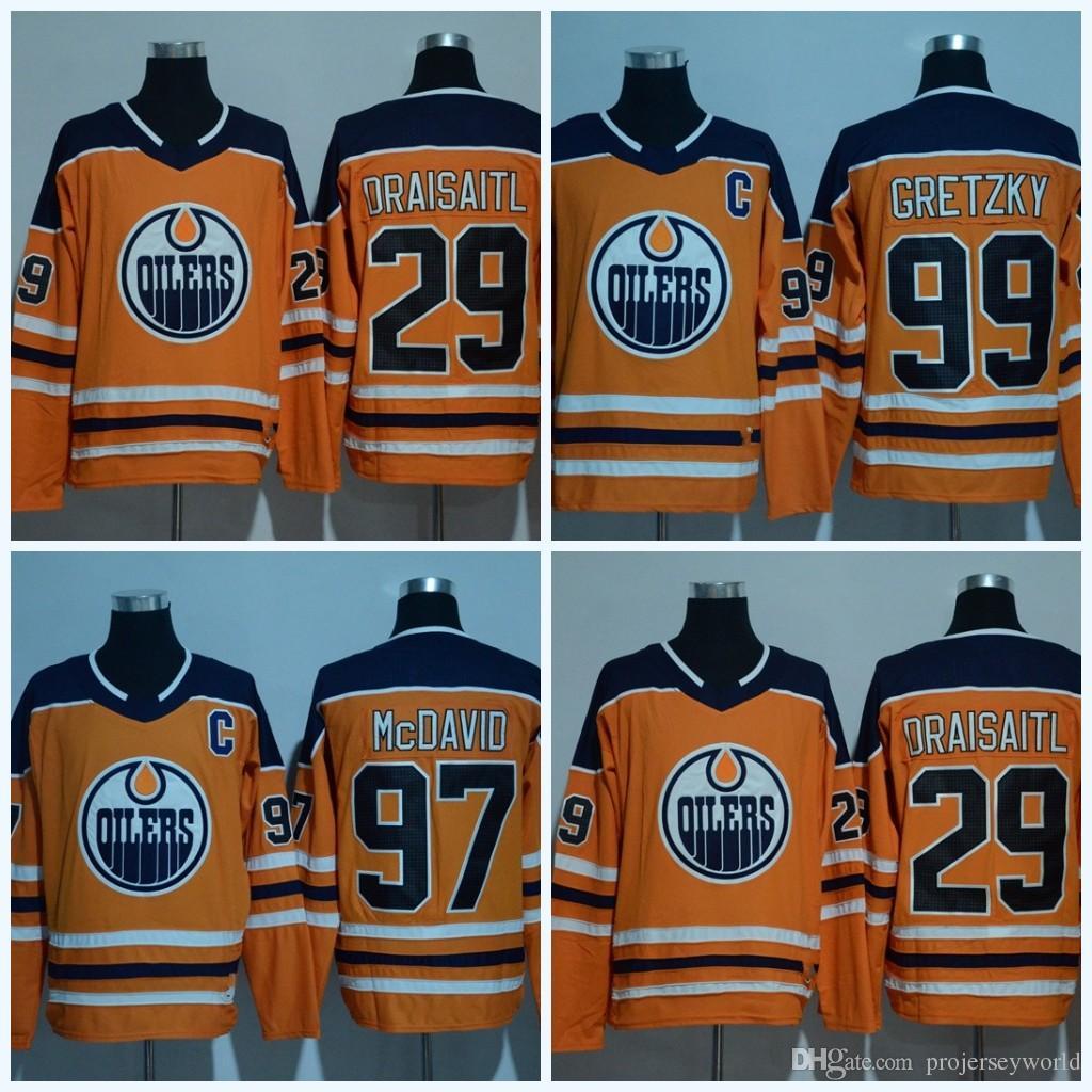 2019 2017 2018 Season Edmonton Oilers Jerseys  29 Leon Draisaitl  97 Connor  McDavid  99 Wayne Gretzky Blank Hockey Jerseys From Projerseyworld 058544e68