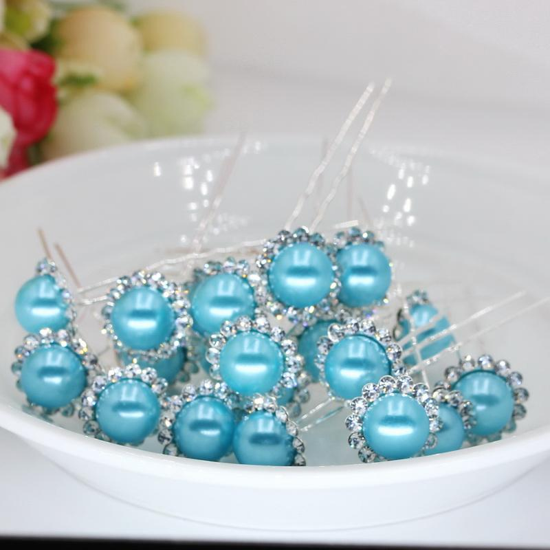 lady full of Rhinestone hair Clips accessories necessary U-shaped plate made of pearl hairpins hair fork flower Barrette