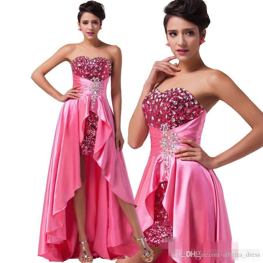 Fashion High Low Evening Dresss 2019 Short Front Beaded Sequin Formal Dresses Red Pink Purple Royal Blue Long Gowns Party Gowns