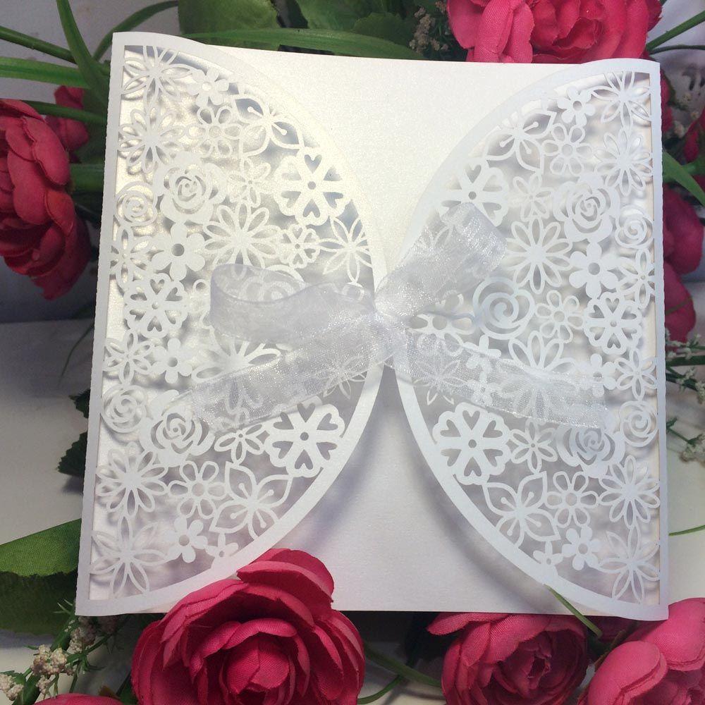 Wholesale- Hot White Romantic Wedding Party Invitation Card Envelope ...