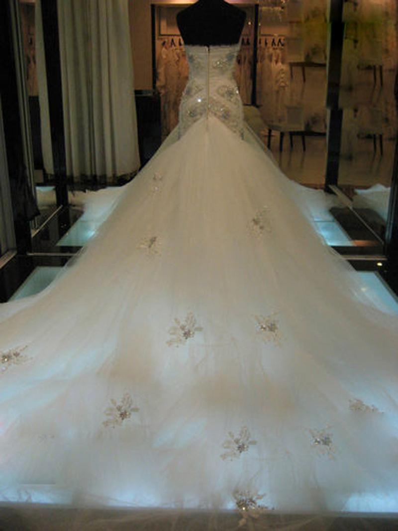 New Querida Frisada Cristal Sereia Vestido De Noiva Com Capela Trem 2017 Novo Vestido De Noiva Custom Made