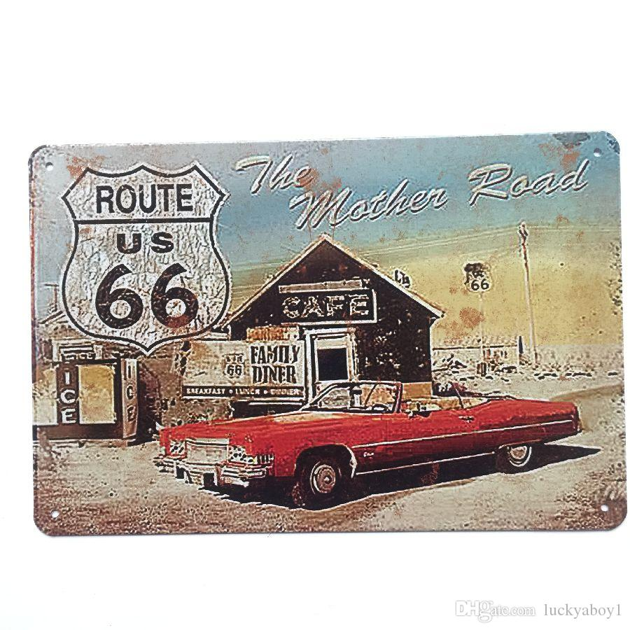 Route US 66 The mother Road Retro Vintage Metal Tin sign poster for Man Cave Garage shabby chic wall sticker Cafe Bar home decor