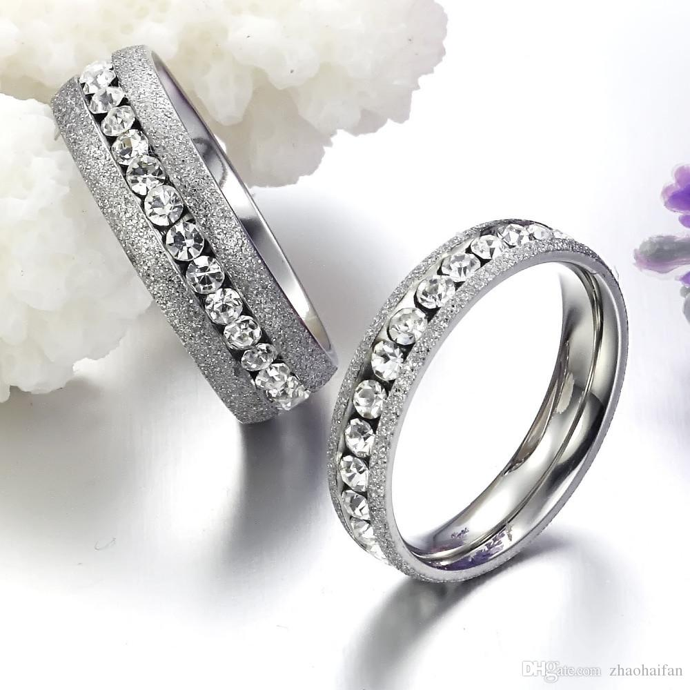 2019 Couple Ring For Lovers' Fashion Stainless Steel Ring Sets Jewelry W/ Cubic Zirconia Wedding Rings GJ359