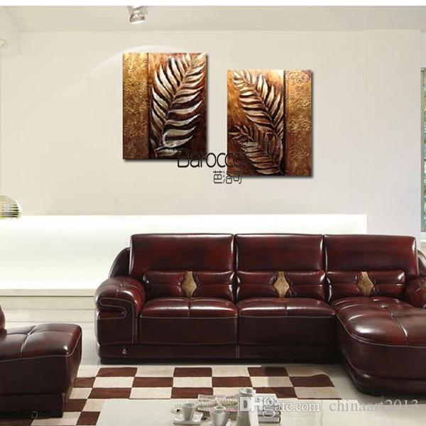 2 Pieces Pure Hand Painted Oil Painting on Canvas Golden Leaf Modern Simple Wall Decoration Home Living Room No Framed