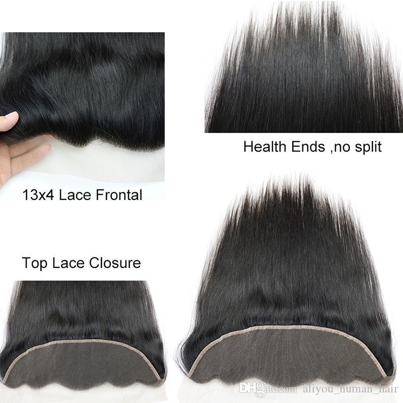 Brasilianische Körperwelle Haar spinnt 3 Bundles mit Verschluss malaysischen indischen kambodschanischen Straight peruanischen Haar mit Spitze Frontal Remy Menschenhaar