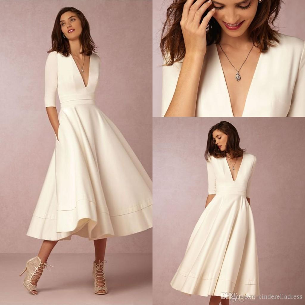 Discount 2018 Bhldn New Tea Length Vintage Wedding Dresses With Half Sleeves V Neck Custom Make Short Beach Party Bridal Plus Size Gown Ba4061 Cheap A Line: Cheap Beach Wedding Dresses Tea Length At Websimilar.org