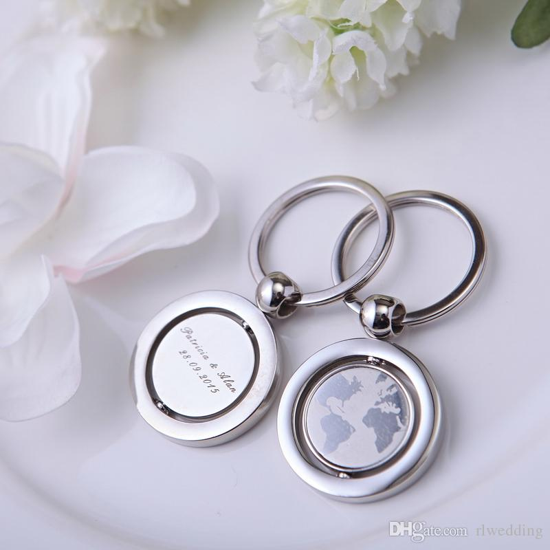 With World Map Personalized Keychain Wedding Gifts For Guests