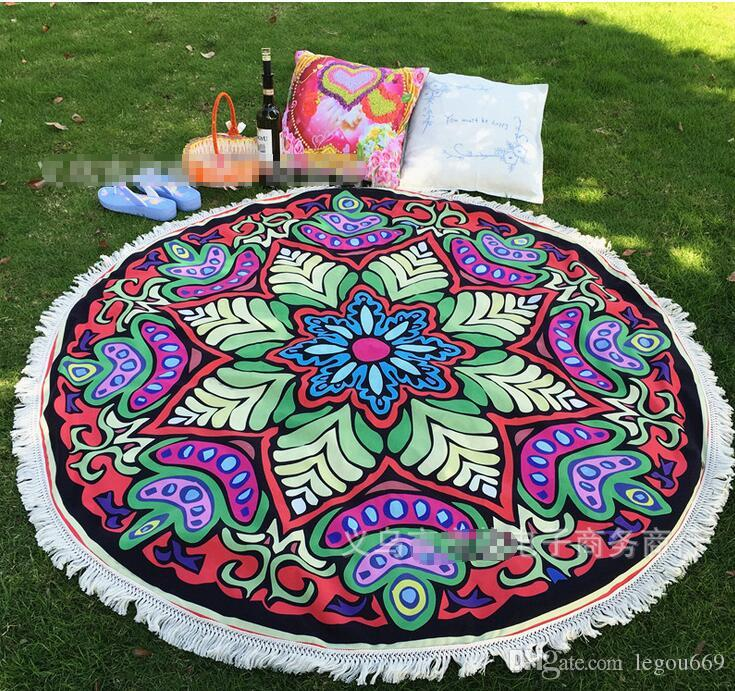 2016 New Summer Large 100% Cotton Printed Round Beach Towels With Tassel Circle Beach Towel Serviette De Plage HJIA618