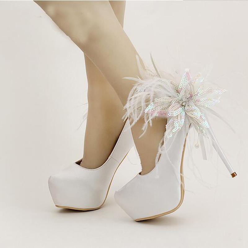 7d5f5a0f180be1 2016 Stiletto Heel Platforms Red Satin Bridal Shoes Glitter Flower Feather  Ronnd Toe Wedding Dress Shoes Women Pumps True Size Cute Wedding Shoes  Design ...