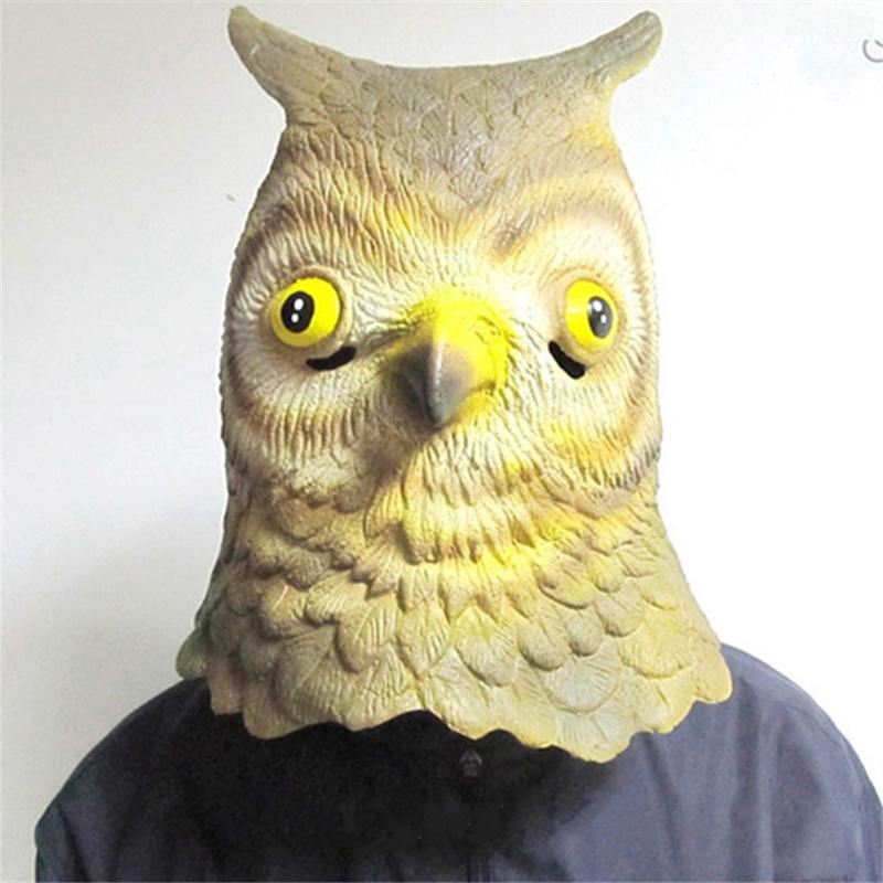 Halloween Mask Masquerade for Adult Fashion Latex Funny Owl Mask Latex Full Head Animal Masquerade Carnival Party Ball Cosplay Costume